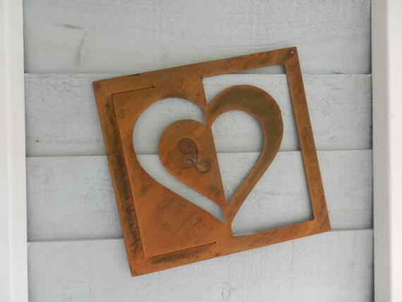 rustic heart wall art metal heart wall plaque gift heart etsy. Black Bedroom Furniture Sets. Home Design Ideas