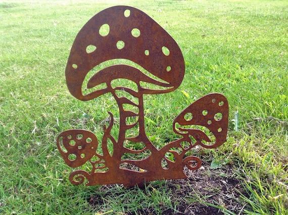 Mushroom Garden Decor Rusty Metal Fairy Garden Art Etsy