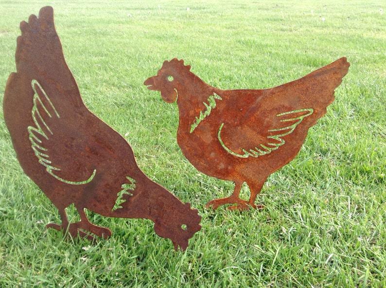 Rusty Hen / Chicken Garden Decor / Chicken gift / Metal Hen image 1