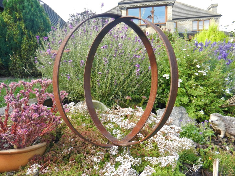 Rusty Metal Ring Sculpture / Garden Rings Rustic Sculpture / image 0