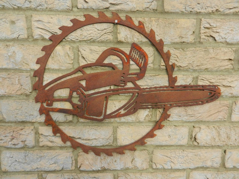 Chainsaw Circular Saw blade Art / Rusty Metal Garden Art /   Etsy