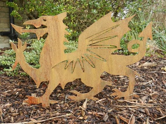 Rusty Metal Welsh Dragon / Welsh Dragon Garden Art / Welsh | Etsy