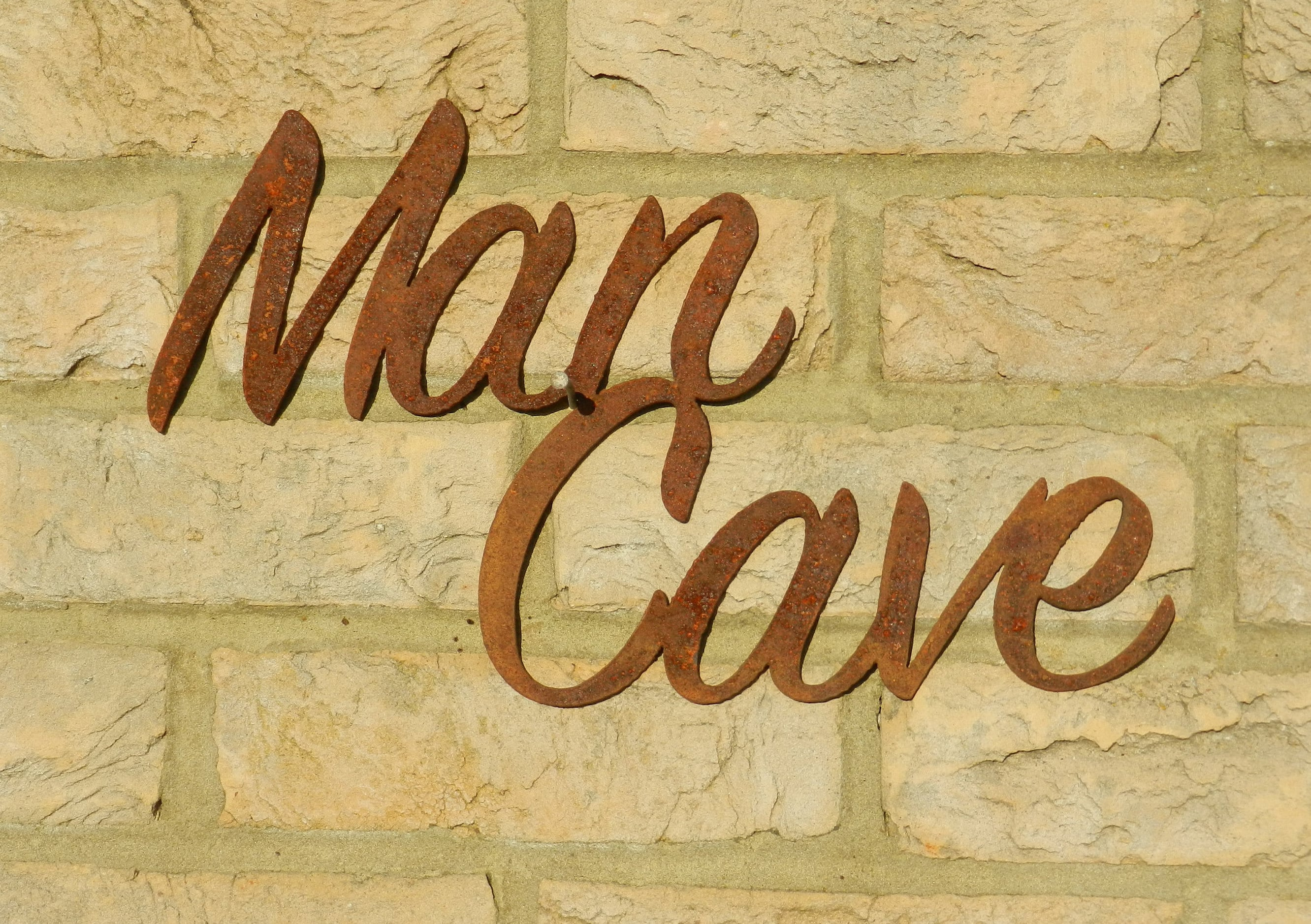 Man Cave Rusty Metal Sign / Man Cave Shed sign / Rustic Man | Etsy
