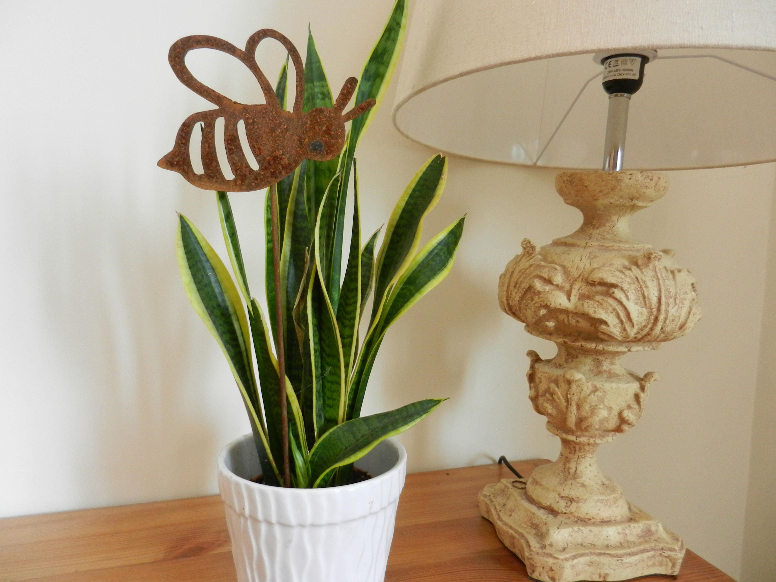 Bee Indoor Plant Stake Rustic Home Decor Bumble