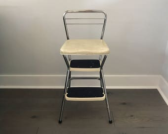 Vintage Cosco Step Stool, Kitchen Stool, Mid Century Step Stool , White Vinyl Stool, Retro Step Stool with Fold Up Seat, Folding Step Stool
