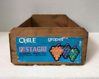 Vintage Wooden Crate, Distagri Grapes Crate, Farmhouse Crate, Wood Box, Farmhouse Decor, Slatted Crate, Wooden Storage, Primitive Decor
