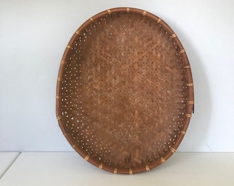 Flat Basket, Oval Basket, Farmhouse Basket, Bohemian Basket, Jungalow Basket, Wall Hanging Basket, Mantel Basket, Basket Tray