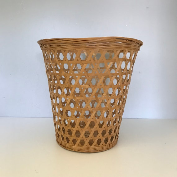 Korbgeflecht Papierkorb Vintage Boho Wicker Mulleimer Bad Etsy