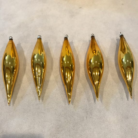 Vintage Mercury Glass Christmas Tree Ornaments, West Germany Teardrop Ornaments