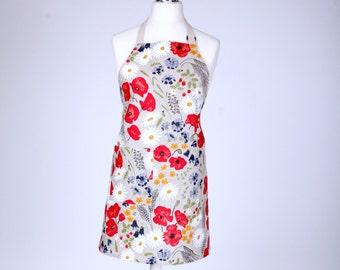 Linen Cotton Apron Meadow, Kitchen Apron For Women, Linen Apron With Flowers, Cute Apron, Cooking Apron