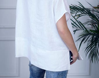 Oversized Linen Top, Soft Washed White Linen Shirt, Linen Top For Women, Linen Tunic Top