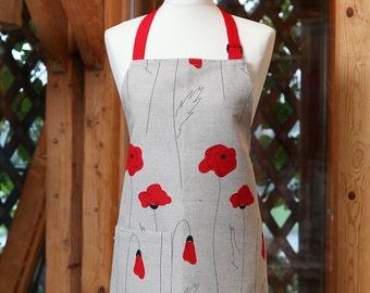 Linen Cotton Apron Poppies, Kitchen Apron For Women, Linen Apron With  Flowers, Cute Apron, Cooking Apron
