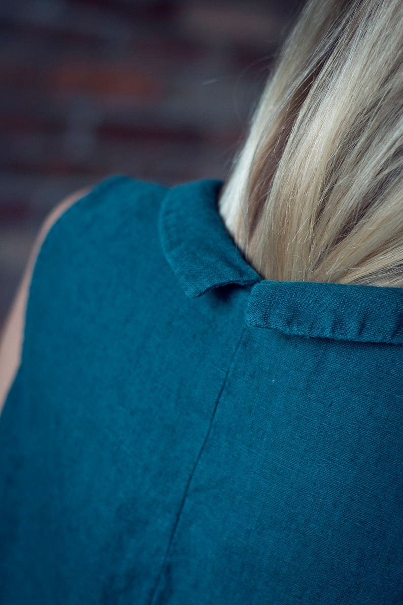 Linen Top With Collar Soft Washed Linen Shirt Sleeveless Linen Shirt Green Linen Blouse Collar Linen Top