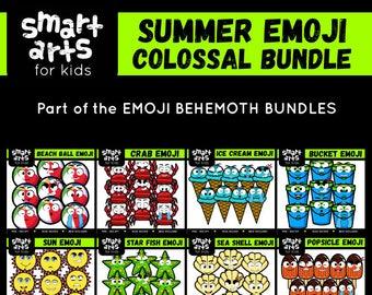 Summer Emoji  Bundle - art for kids, emoji clip art - instant download - png clipart - digital graphics - bundle - SVG - Vector