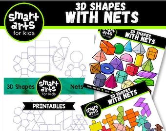 Math 3d Shapes with nets Clip Art Bundle - Cartoon - 3dnets - netsprintables - instant download - SVG Cricut - png clipart - 3d - Vector