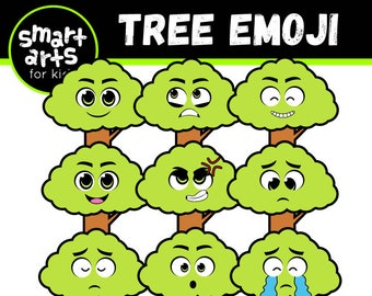 Earth Day Tree Emoji Clip Art- Cartoon - digital graphics - instant download - SVG - Vector - png clipart - earth day
