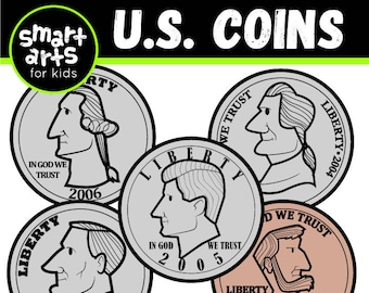 U.S. Coins Clip Art- Cartoon -  - instant download - SVG Cricut - Vector - png clipart - counting - us coin- smart arts for kids