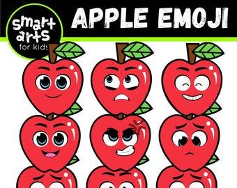 Apple Emoji Clip Art - Cartoon - apple emoji - instant download - SVG Cricut - Vector - png clip art - apple- smart arts for kids