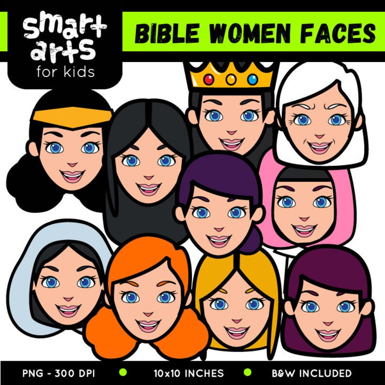 Bible Women Faces Clip Art - bible based - bible characters - SVG - png  clip arts - digitalgraphics - instant download - bible story