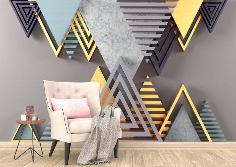 Gray Geometry 3D Photo Wallpaper Geometric Shapes Golden Photo Wallpaper  Wall Stickers Gray Wallpapers Wall Decor 3D