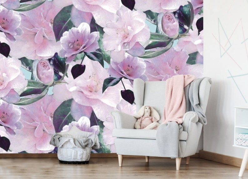 Pink Purple Beautiful Floral Wallpaper Mint Background Baby Girl Wall Decor Exclusive Design Wall Mural Flower Wall Sticker Wall Decals Murals Home Living Efp Osteology Org