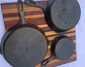 Vintage Set of 3 Unmarked Wagner Ware Cast Iron Skillets Sizes 3 6 and 8