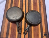 Vintage Set of Cast Iron Skillet Size 3 Unmarked Wagner Ware and Lodge