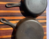 Vintage Cast Iron Set of Size 6 and 8 Skillets Wagner Ware Sidney O