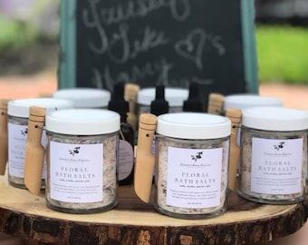 Floral Bath Salts 6.5oz, Organic Bath Soak, Best Bath Salts, Natural Bath Soak, Bath Time Soak, Therapeutic Bath Salt, Rose Bath Salt