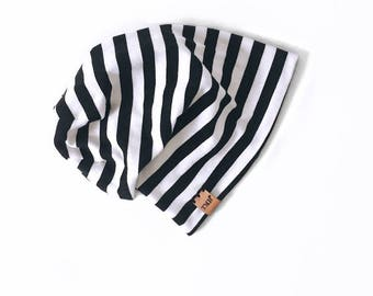 Black & White Stripe Beanie