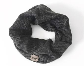 Ribbed Dusty Black Infinity Scarf