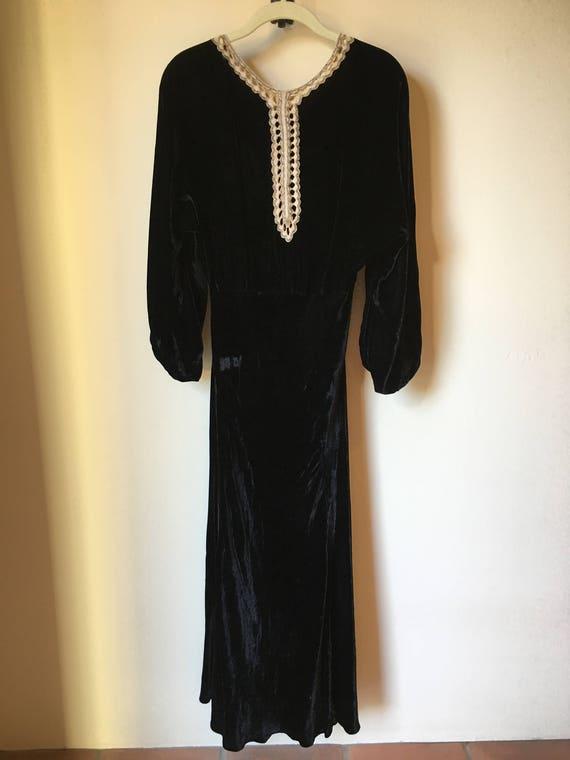 Black silk, velvet 20's gown