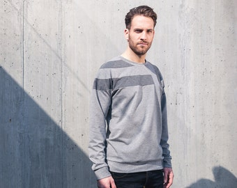 Elements Sweater Grey-casual sweatshirt with patchwork design details
