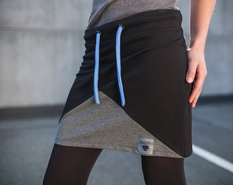 Alpha skirt in black and grey-geometric comfortable straight skirt made of sweat (cotton)-mini skirt, made in Germany