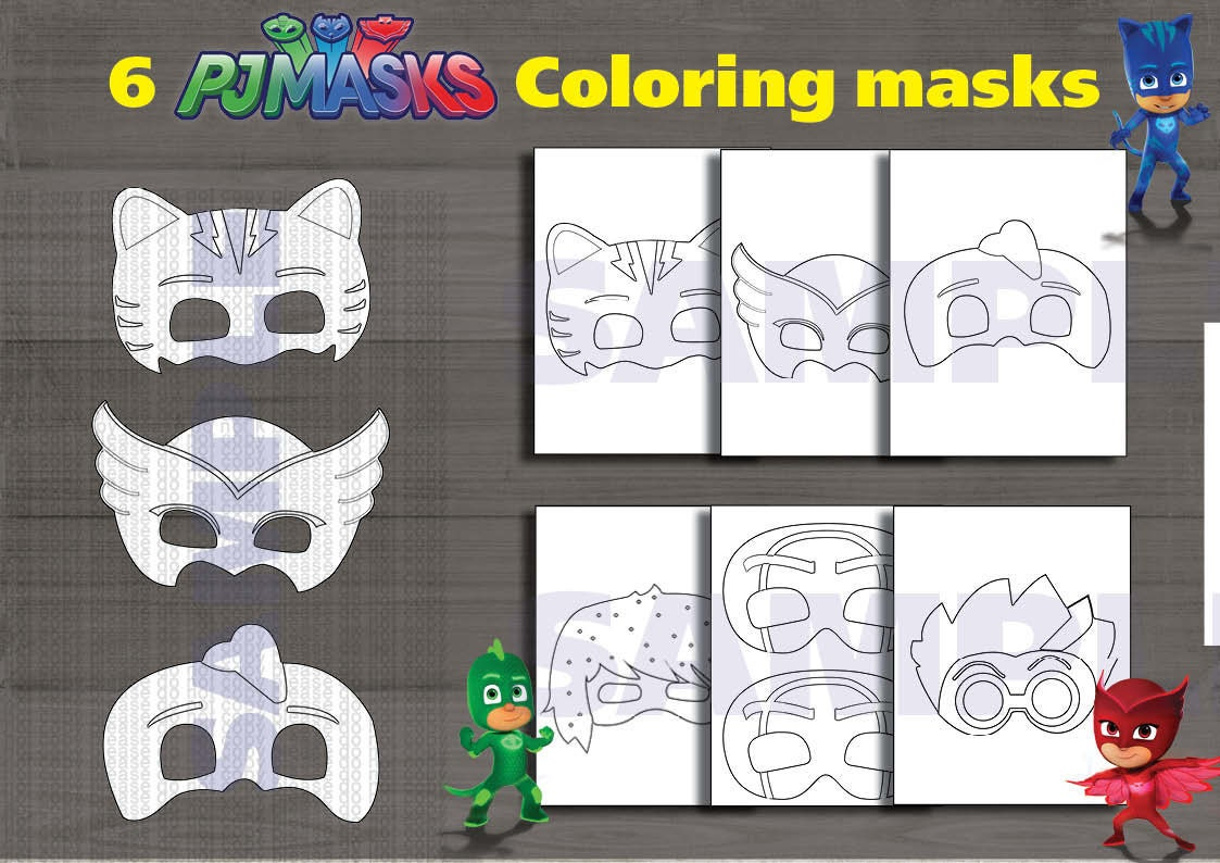 photo regarding Pj Masks Mask Printable titled Instand DL - PJ Masks Printable coloring masks- Electronic History (NOT editable)