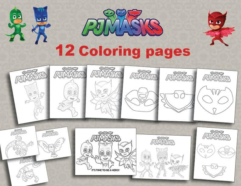 Instand Pj Dl 12 Maschere Stampabili Da Colorare File Etsy
