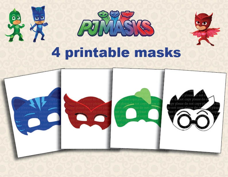 image relating to Pj Masks Printable Images referred to as Instand DL - PJ Masks Printable masks get together image booth - Printable (NON Custom made)