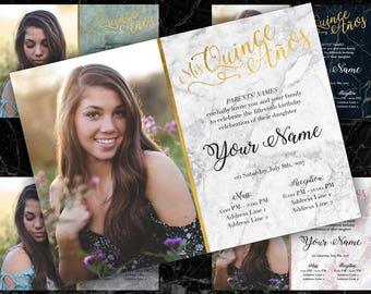Quinceañera Invitation - English or Spanish, Marble, Fancy, Classy, Script, Printable
