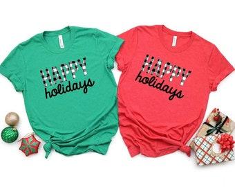 Buffalo plaid Christmas shirt, Christmas shirt, happy holidays, plaid Christmas women, matching family Christmas shirt