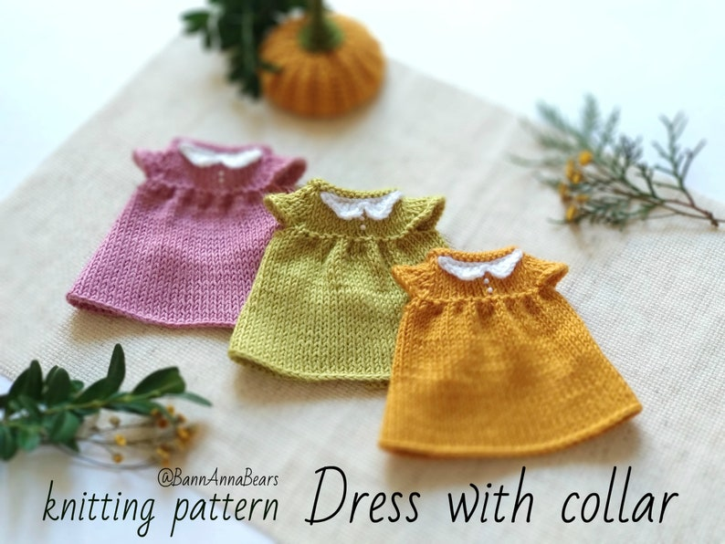 1b42161bf42d Knit dress pattern for doll Knitting clothes for toy pdf | Etsy