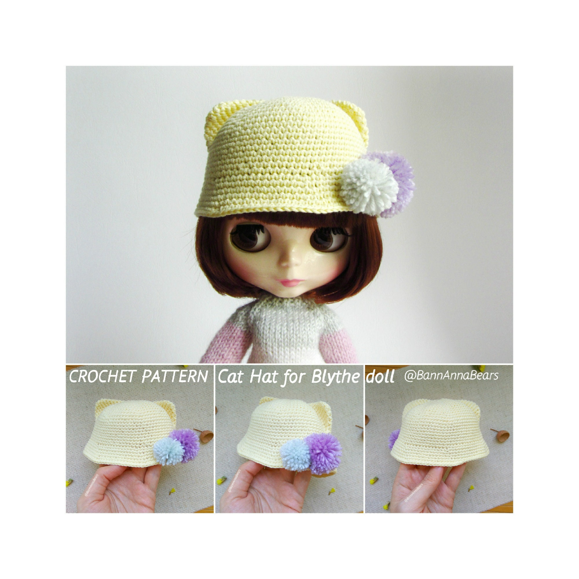 Cat Hat For Blythe Crochet Pattern Animal Hat For Azone Doll Etsy