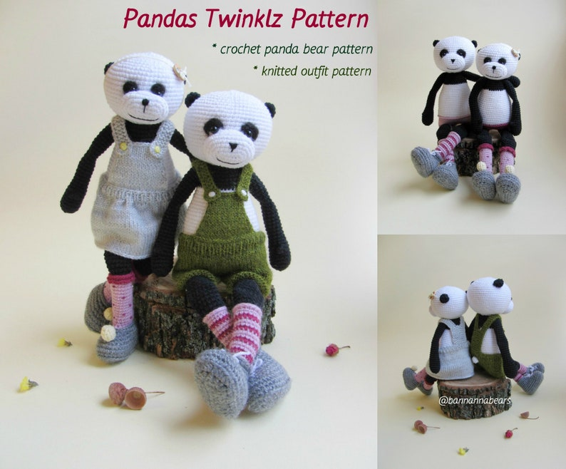 Amigurumi pattern Crochet panda bear Animal zoo pattern Easy amigurumi toy  Crochet bear pattern Baby toy pattern Panda bear amigurumi pdf