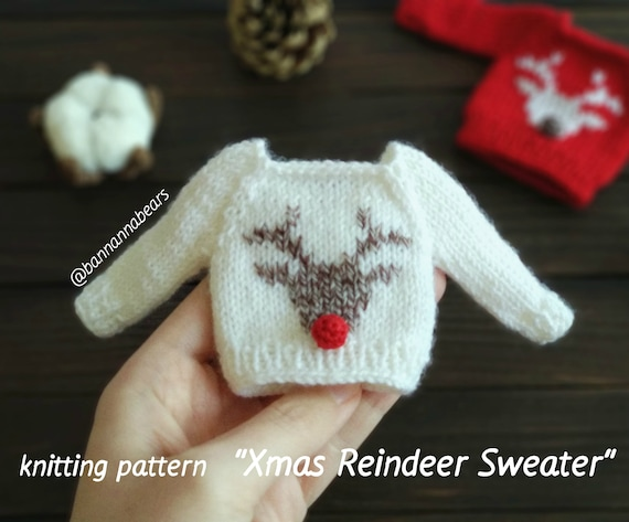 Christmas rudolph mini sweater KNIT PATTERN, Barbie doll Christmas patterns, Monster high sweater, Mini waldorf jumper, Teddy bear clothes