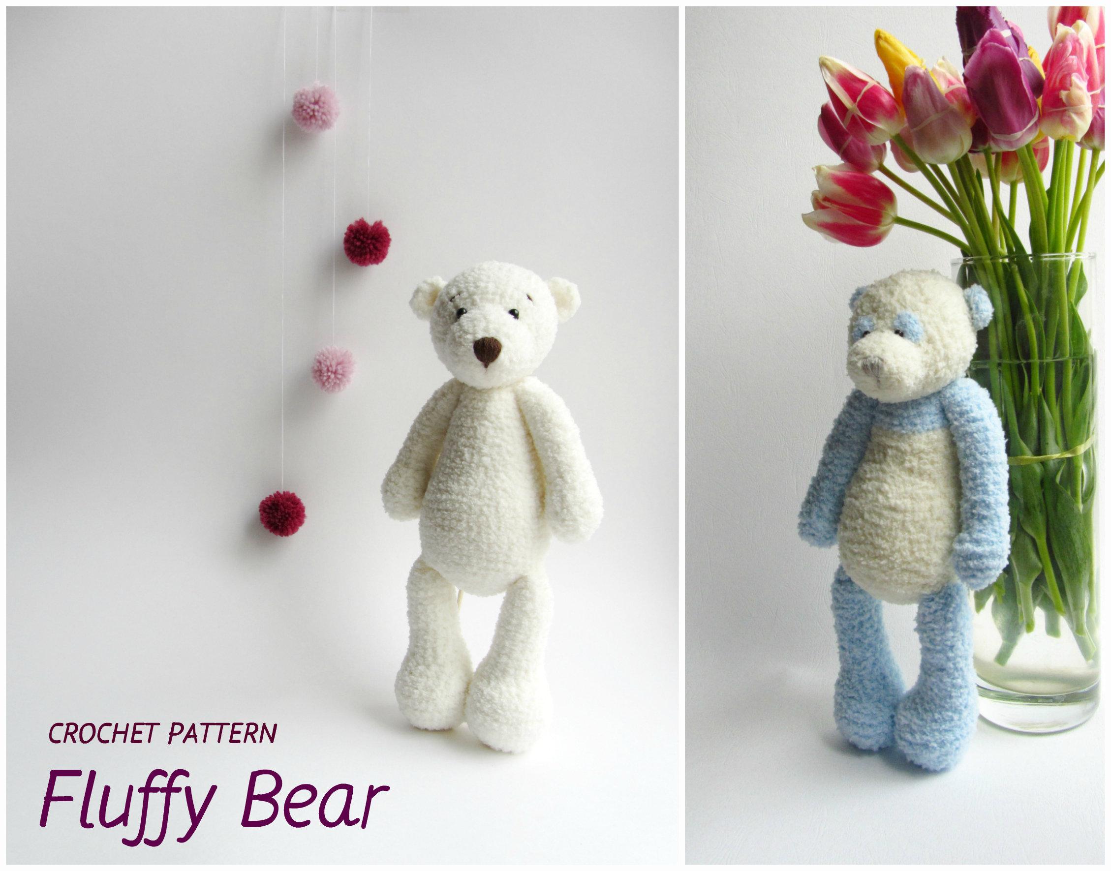 Crochet bear pattern Amigurumi toy pattern Crochet fluffy bear | Etsy