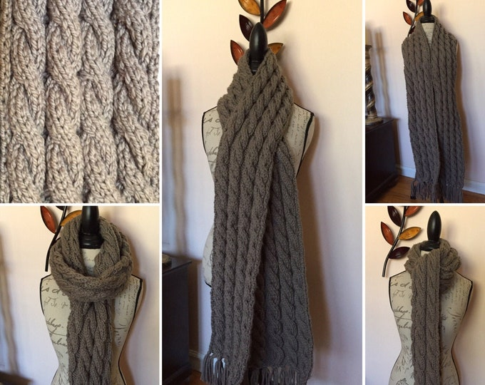 Long cable knit scarf with Tassels