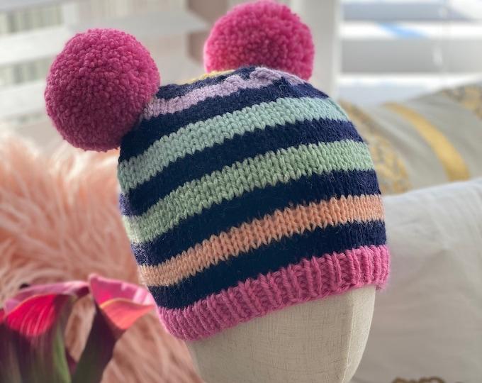 Striped Beanie Hat, Striped Hats with Pom poms