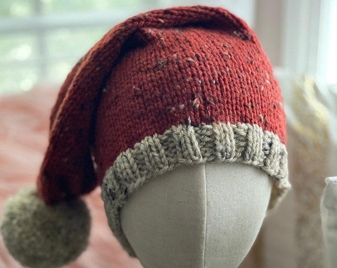 Santa Clause Hat, Rustic Knit Santa Hat