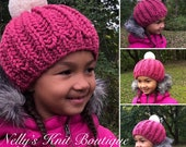 Girls Winter hat, Ribbed Knit Hat