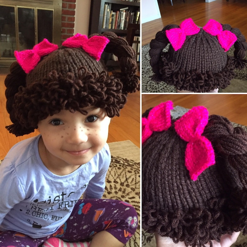 c8a6c9aa4 Cabbage Patch Kid hat, Cabbage Patch Hat, Cabbage Patch hat with knit bows,  Knit Wig, Cabbage Patch Wig Hat,