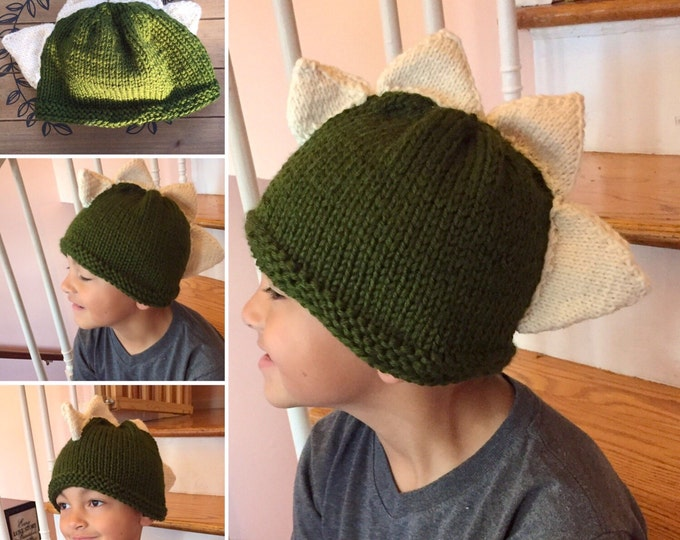 Knit Dinosaur Hat with Spikes, Dragon Spiked Hat